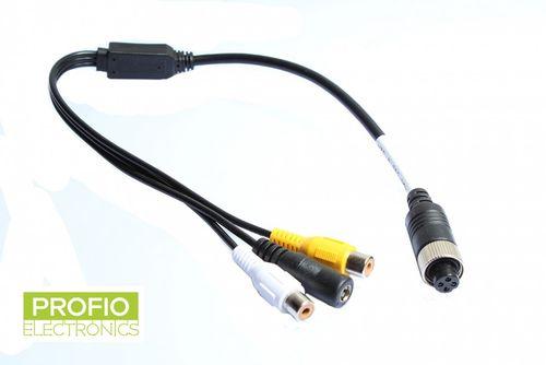 Propojovací kabel z cinch konektoru kamery na 4 pin RCA monitor