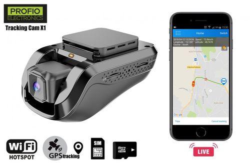 Kamera do auta PROFIO Tracking Cam X1 - FULL HD 1080 Dual WiFi s LIVE GPS sledováním přes app v mobilu + 3G přenos dat