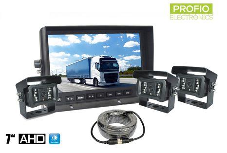 """3 kamerový systém s AHD 7"""" LCD monitorem a 18x IR LED"""