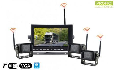 """3x WiFi couvací kamery + 7"""" WiFI LED monitor - parkovací set"""
