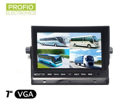 """LCD monitor 7"""" s redukcí 4 pin-cinch a připojením až 4 couvacích kamer"""