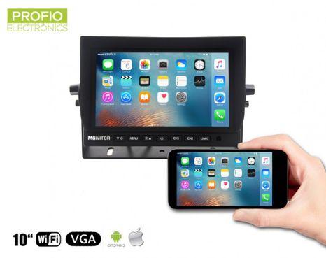 """Mirror link WiFi LCD 10,1"""" monitor - propojení přes mobil nebo tablet + připojení 2 couvacích kamer"""